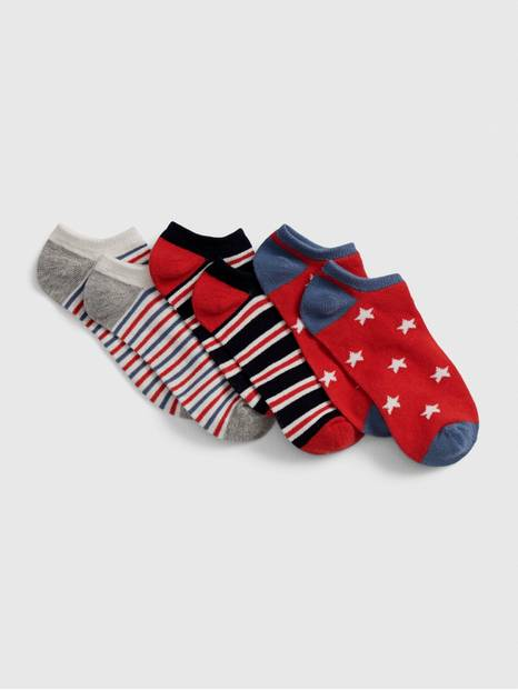 Kids Red, White, and Blue No-Show Socks (3-Pack)