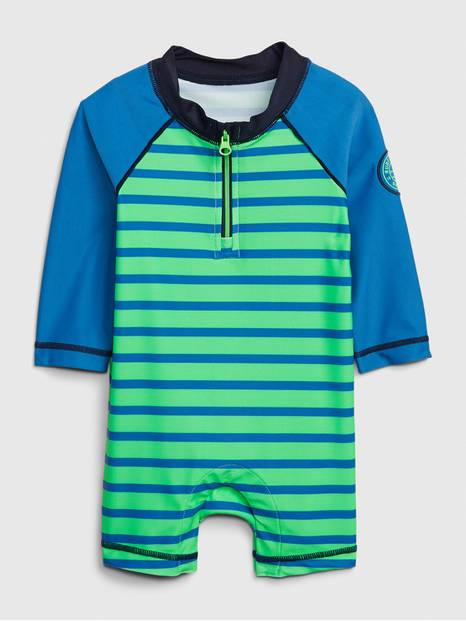 Baby Rashguard Striped Swim Shorty One-Piece
