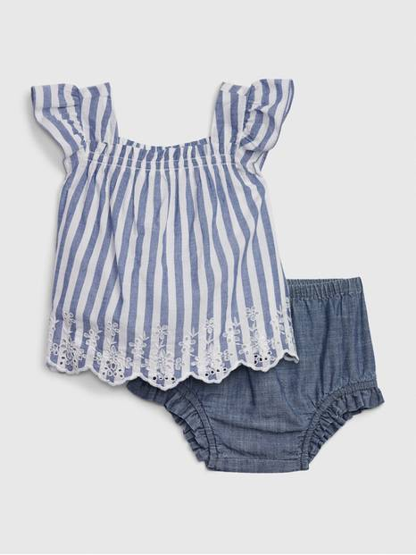 Baby Stripe Eyelet Set
