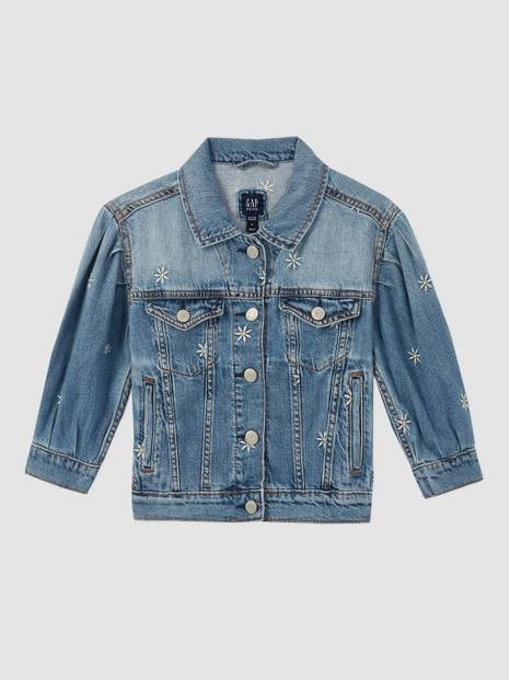 Kids Embroidered Daisy Denim Jacket