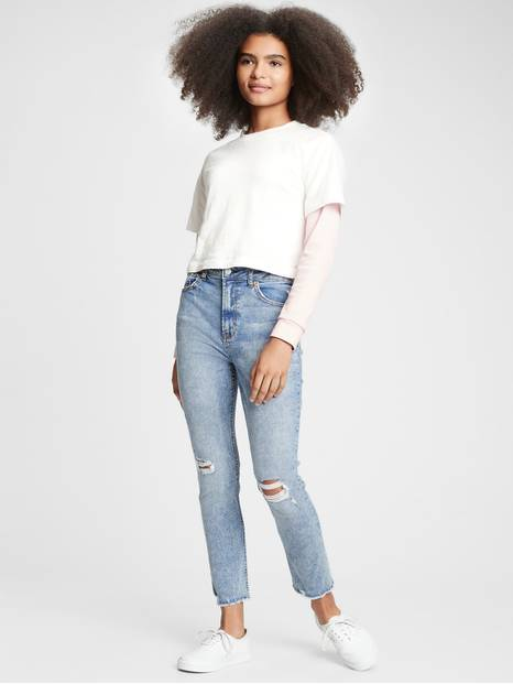 Teen Sky High Rise Super Skinny Distressed Jeans with Stretch