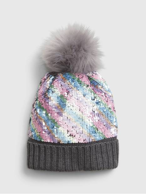 Kids Flippy Sequin Pom Hat