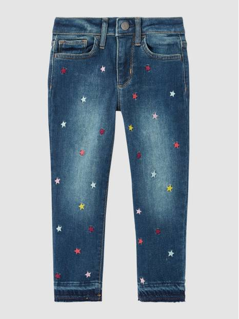 Kids Star Embroidery High Rise Jeggings