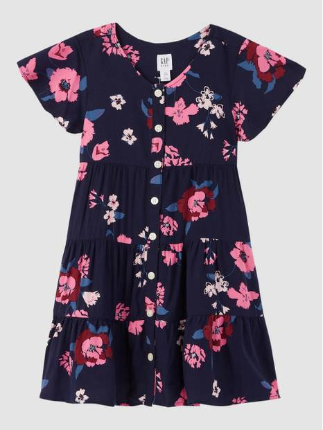 Kids Print Tiered Dress