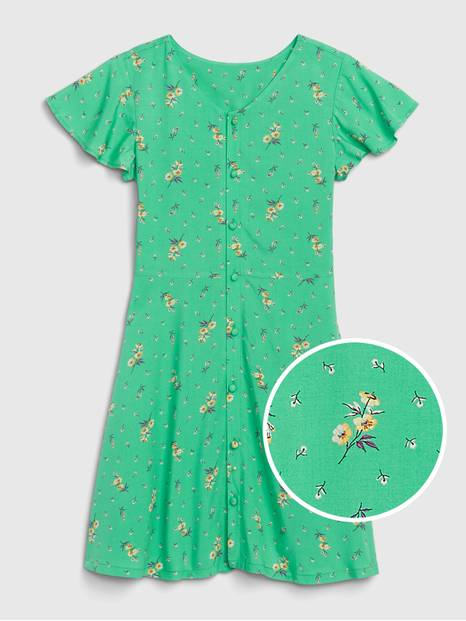 Kids Button-up Floral Dress