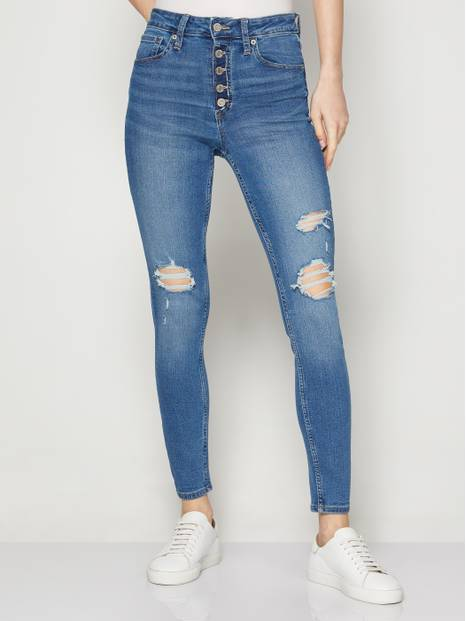 High Rise Universal Legging Jeans with Button Fly