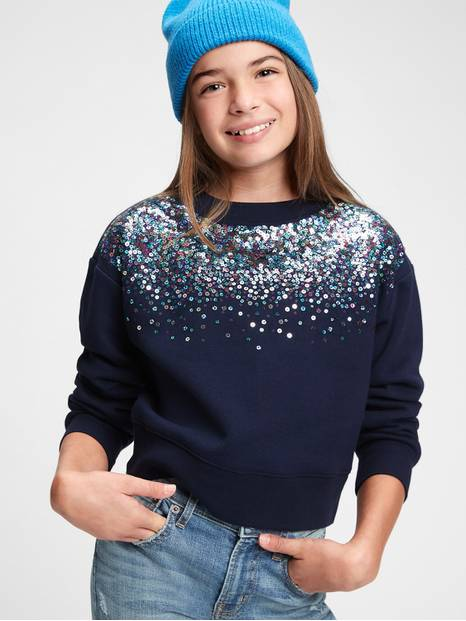 Kids Sequin Graphic Crewneck Sweatshirt