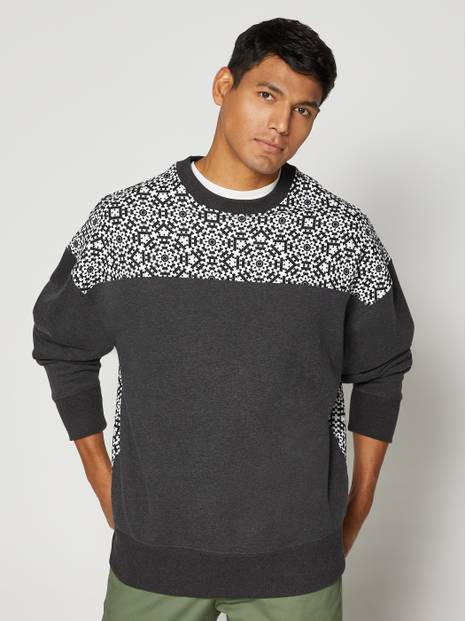 Spliced Printed Crewneck Sweatshirt