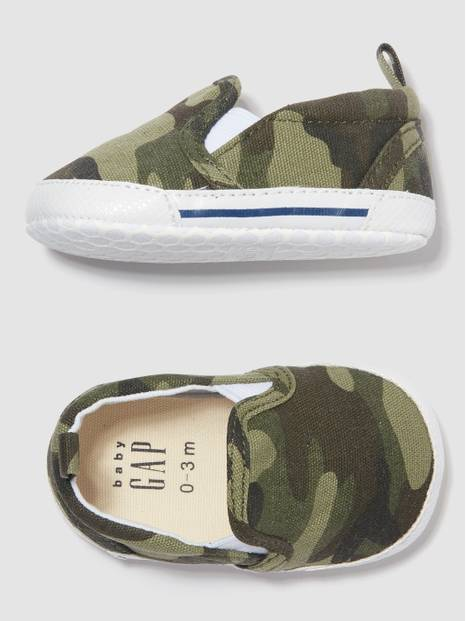 Baby Camo Print Slip-On Shoes