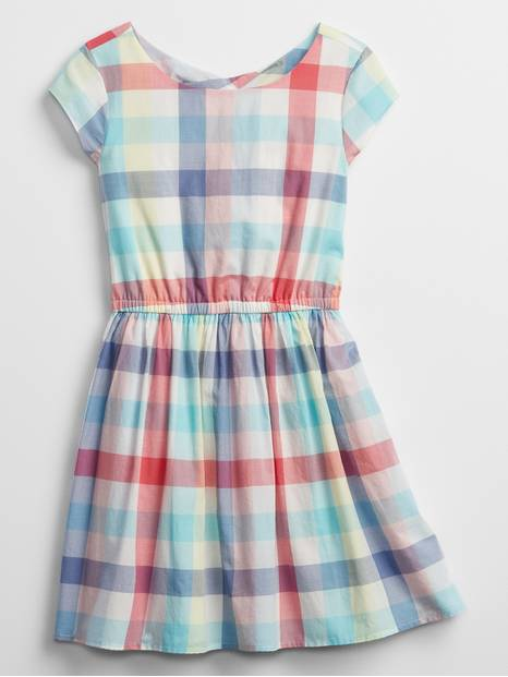 Kids Plaid Twist-Back Dress