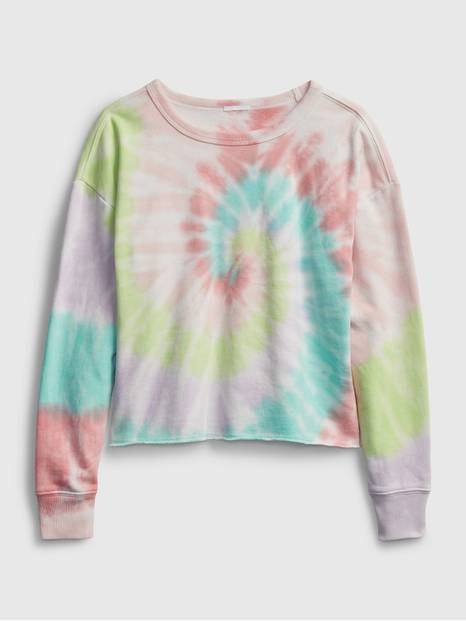 Kids Printed Cut-Off Crop Crewneck Sweatshirt