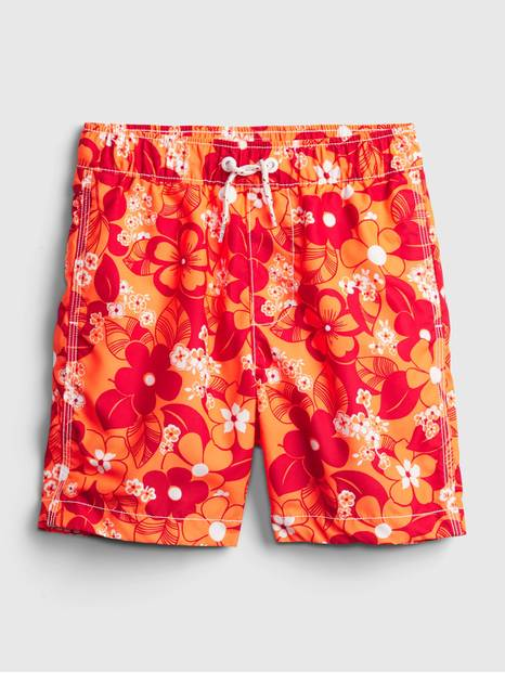 Kids Recycled Floral Swim Trunks