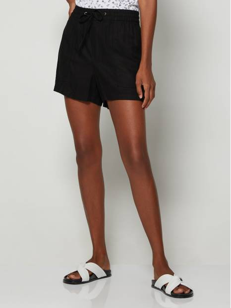 Linen Blend Pull-On Drawstring Shorts