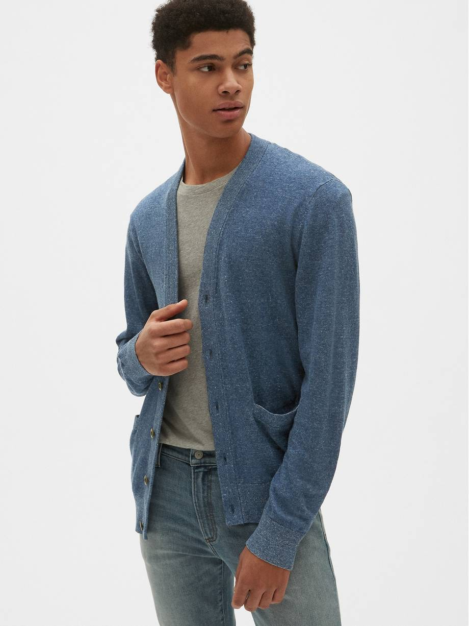V Neck Cardigan Sweater in Linen Cotton